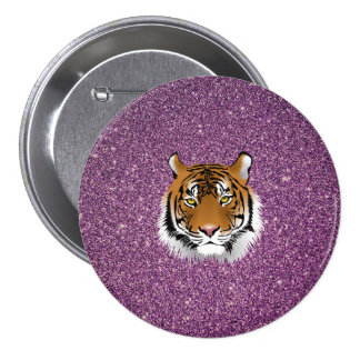 Tiger with Purple Glitter Background Pinback Button