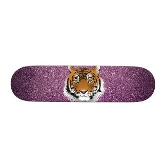 Tiger with Purple Glitter Background Skateboard