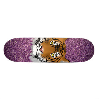 Tiger with Purple Glitter Background Skateboard
