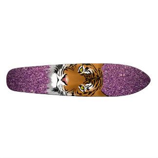 Tiger with Purple Glitter Background Skateboard Deck
