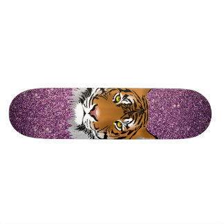 Tiger with Purple Glitter Background Skateboard Deck