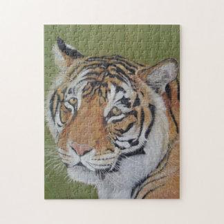 tiger with sad eyes big cat wildlife painting jigsaw puzzles