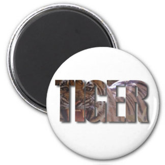 TIGER WORD WITH TIGER IMAGE ON INSIDE OF TEXT MAGNET