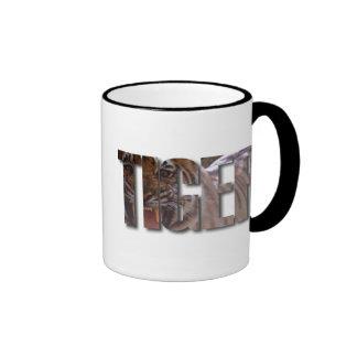 TIGER WORD WITH TIGER IMAGE ON INSIDE OF TEXT RINGER MUG