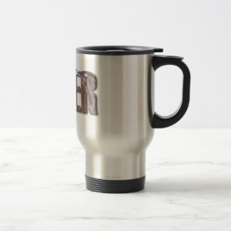TIGER WORD WITH TIGER IMAGE ON INSIDE OF TEXT TRAVEL MUG