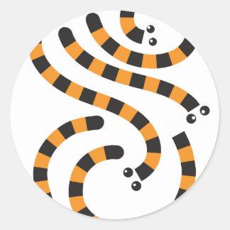 tiger worms design classic round sticker