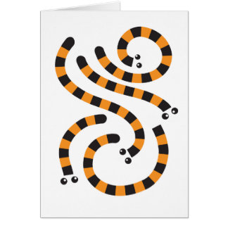 tiger worms design greeting card