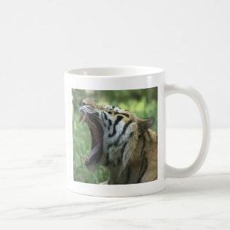 tiger yawn classic white coffee mug