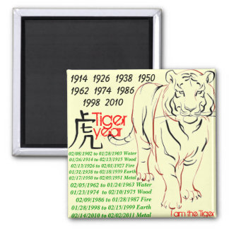 tiger year 2 inch square magnet