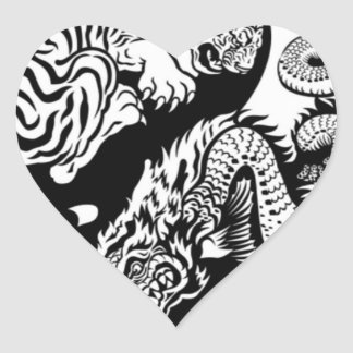Tiger Yin/Yang Heart Sticker