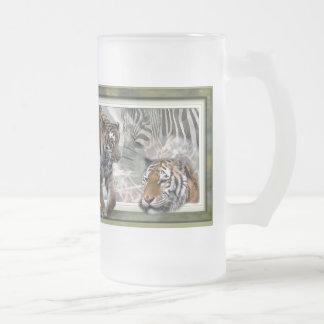 Tiger, Zebra, Giraffe, Lovers Gifts Frosted Glass Beer Mug