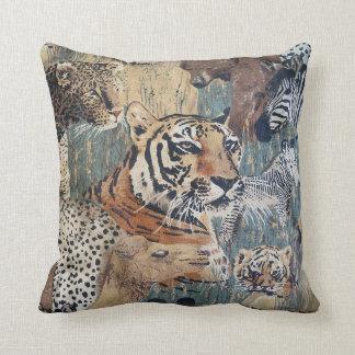 Tiger Zebra Leopard Bear Wildlife Throw Pillow Art