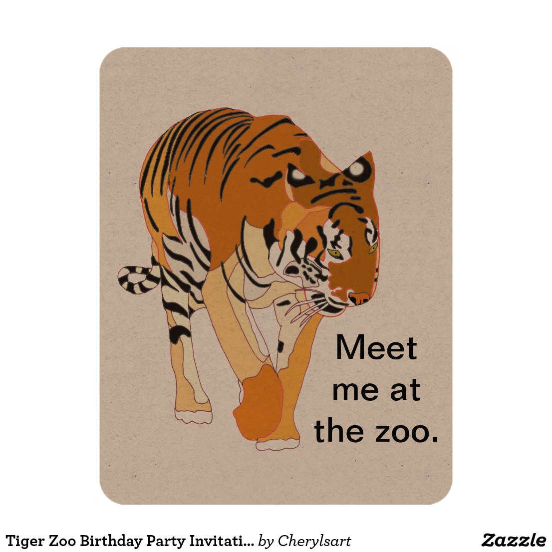 Tiger Zoo Birthday Party Invitations