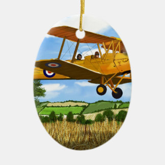 TIGERMOTH FIELDS Double-Sided OVAL CERAMIC CHRISTMAS ORNAMENT