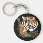 Tigers Basic Round Button Keychain