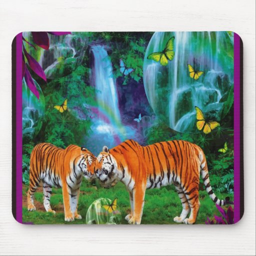 Tigers Fantasy Forest Mousepad