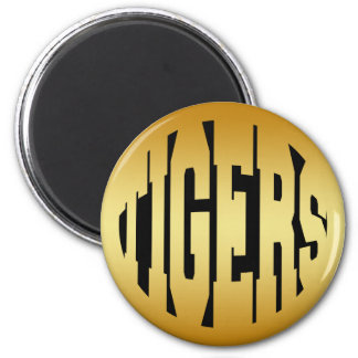 TIGERS - GOLD 2 INCH ROUND MAGNET