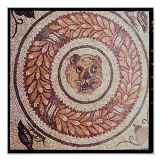 Tiger's head, Roman mosaic, early 4th century Poster