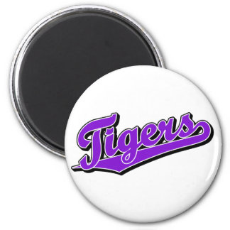 Tigers in Purple 2 Inch Round Magnet