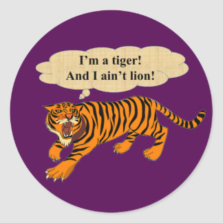Tigers, Lions and Puns Classic Round Sticker