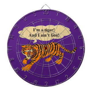 Tigers, Lions and Puns Dartboard With Darts