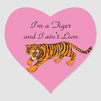 Tigers, Lions and Puns Heart Sticker