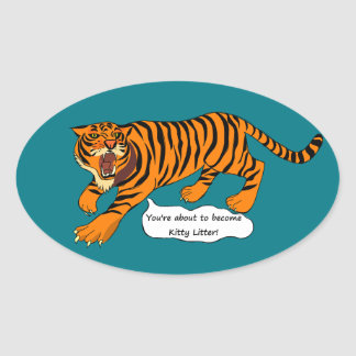 Tigers, Lions and Puns Oval Sticker