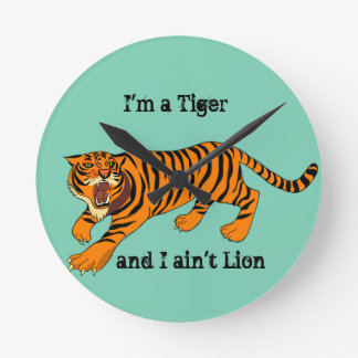 Tigers, Lions and Puns Round Clock