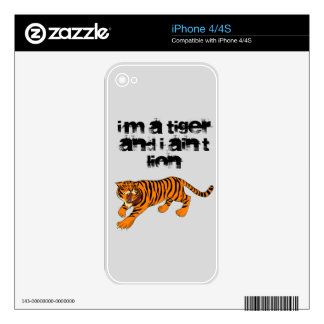 Tigers, Lions and Puns Skin For iPhone 4S