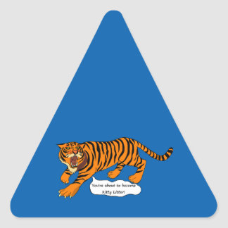 Tigers, Lions and Puns Triangle Sticker