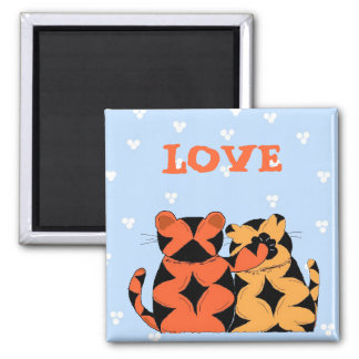 Tigers - Love 2 Inch Square Magnet