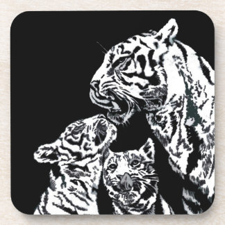 tigers mum with cubs cork coasters set