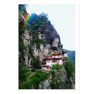 Tigers Nest Bhutan and prayer flags 4 rainbow Postcard