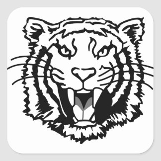 Tigers Outline Square Sticker