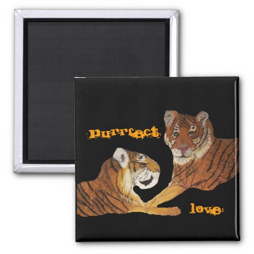 Tigers Purrfect Love 2 Inch Square Magnet