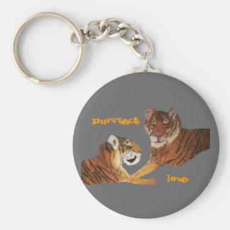 Tigers Purrfect Love Basic Round Button Keychain
