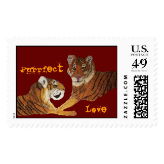 Tigers Purrfect Love Postage Stamp