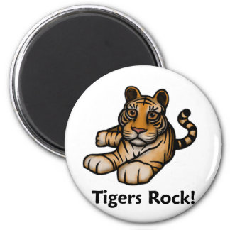 Tigers Rock! 2 Inch Round Magnet