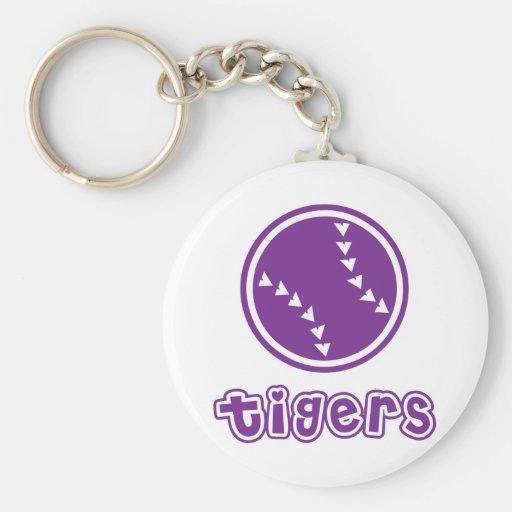 Tigers Softball Basic Round Button Keychain