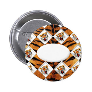 Tigers with Checker Board Background Pinback Button