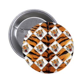 Tigers with Checker Board Background Button