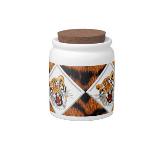 Tigers with Checker Board Background Candy Dish