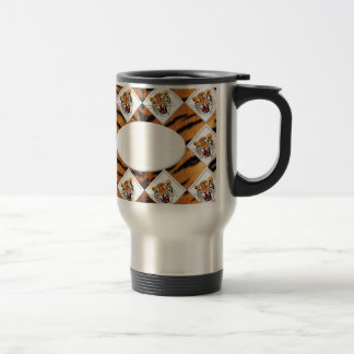 Tigers with Checker Board Background Travel Mug