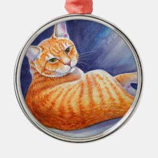 Tigg the Orange Tabby Cat Metal Ornament