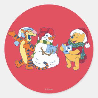 Tigger and Pooh Carolling Classic Round Sticker