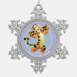 Tigger   Standing Add Your Name Snowflake Pewter Christmas Ornament