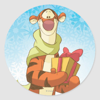 Tigger With Gift Classic Round Sticker