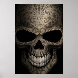 Tight Decorated Dark Skull Poster