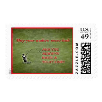 Tight line | waders | Fly fishing Holiday wish Postage Stamp