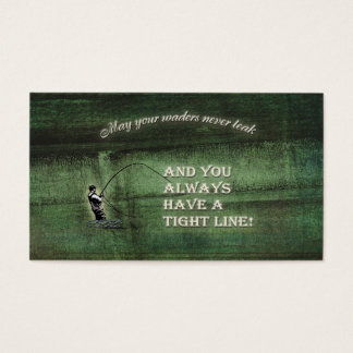 Tight line | waders never leak, Fly fishing wish Business Card